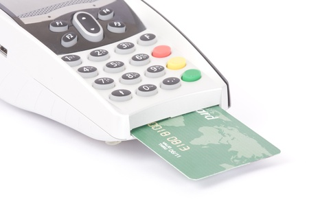 chip and pin: bank terminal and credit card isolated on white Stock Photo