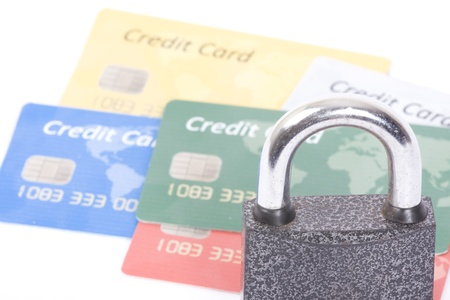 secure money:  Credit cards and lock, business security background