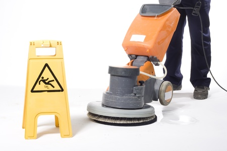 cleaning equipment:  cleaning floor with machine
