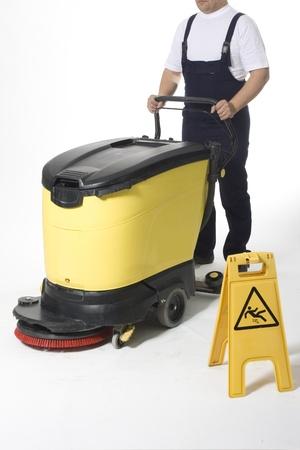 clean floor:  cleaning floor with machine
