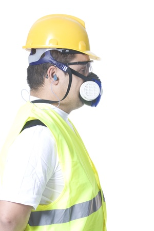 dust mask: technician wearing safety uniform on white background