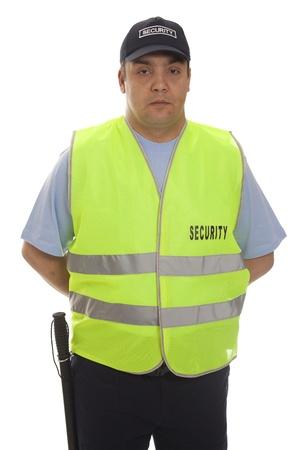 police radio: security staff member Stock Photo