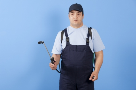 insecticidal:  Man spraying insects- pest control Stock Photo