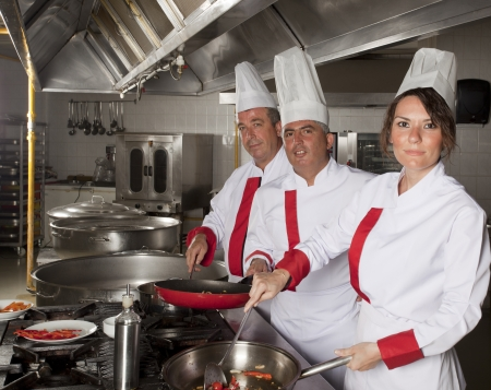grupo de j�venes chefs profesionales bellos retratos photo