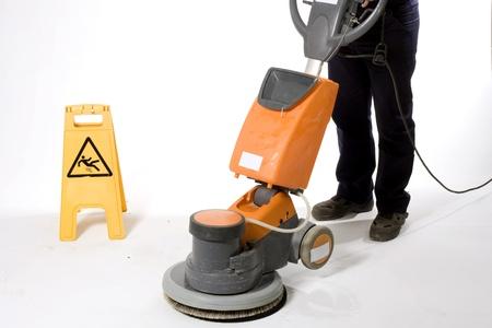 floor machine: limpieza de suelos con m�quina Foto de archivo