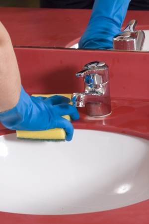 Cleaning Bathroom Sink Stock Photo - 14736256