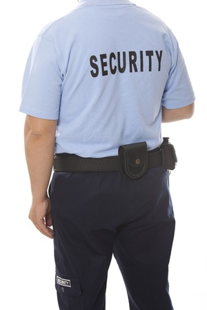 theft prevention:  detail of a security staff member Stock Photo