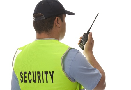 security staff:  detail of a security staff member Stock Photo