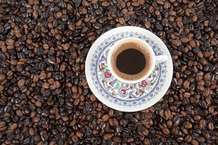 cafe colombiano: Taza de café turco Foto de archivo