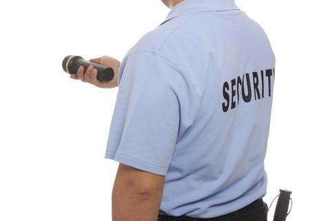 Um detalhe de um guarda de seguran