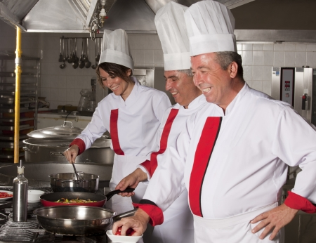 hotel staff: group of young beautiful professional chefs portrait in industrial kitchen