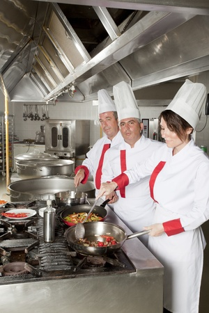 group of young beautiful professional chefs portrait in industrial kitchen  photo