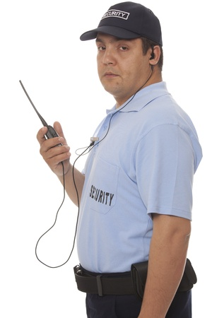 security officer: Security guard hand holding cb walkie-talkie radio