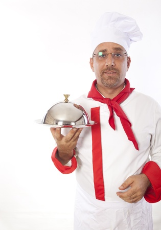 cloche: chef with metal cloche lid cover and tray