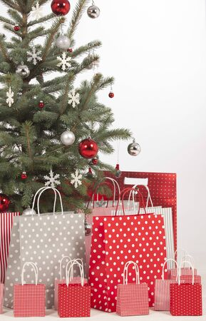 under tree: Beautiful Christmas tree with present and decorations  Stock Photo
