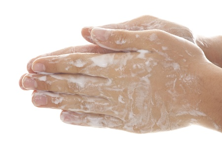 anti bacterial soap: Washing hands  Stock Photo
