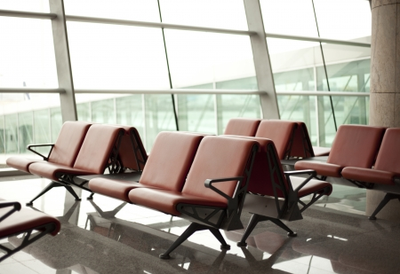 airport lounge: empyt waiting room with seats in airport Stock Photo