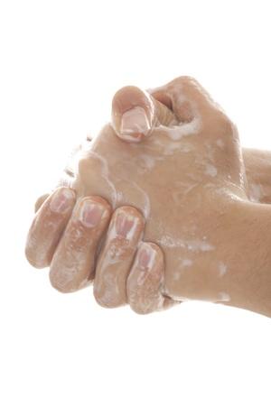 Close up Bild von Waschen Hand vor weißem Hintergrund