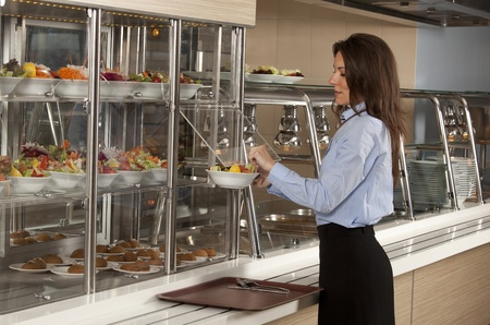 cafeteria tray: Business woman take cafeteria lunch