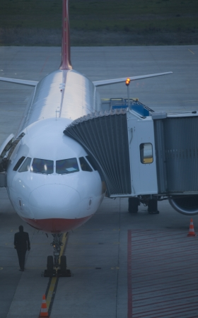 Parked aircraft on  airport through the gate window photo