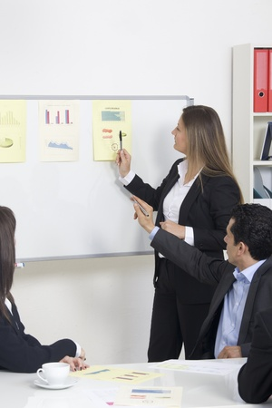 Woman making a business presentation to a group photo