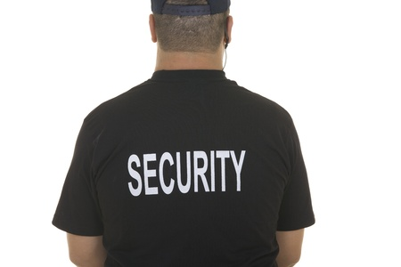 security guard man: back of a security guard isolated on white