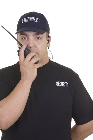 security guard man: Security guard hand holding cb walkie-talkie radio