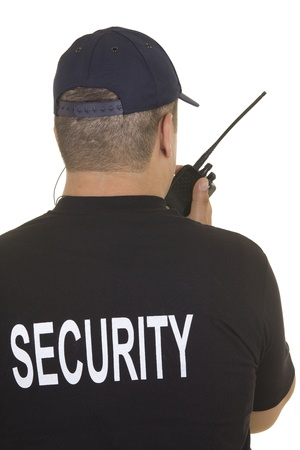 security equipment: Security guard hand holding cb walkie-talkie radio