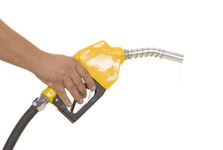 Male hand wasting gas with yellow pump isolated on white photo