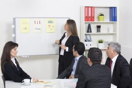 Frau, die eine Business-Präsentation zu einer Gruppe