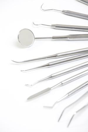 dental clinic: Set of metal medical equipment tools for teeth dental care