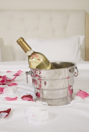 wine in bed to celebrate Valentine photo