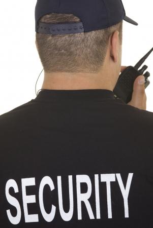 cb: Security guard hand holding cb walkie-talkie radio