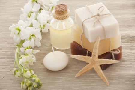 natural setting: Handmade Soap closeup.Spa products