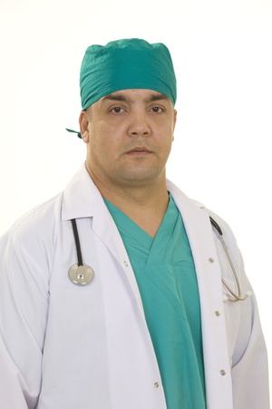 Stock image of male doctor over white background