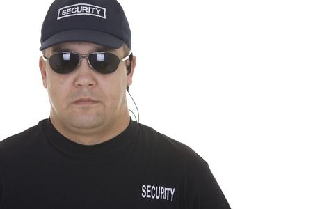 guardaespaldas: guardia de seguridad aislado en blanco Foto de archivo