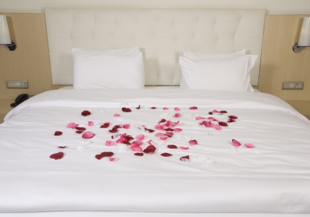 hotel room with big bed and red flowers photo