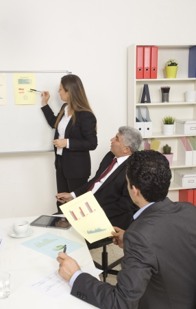 Woman making a business presentation to a group Stock Photo - 21144809