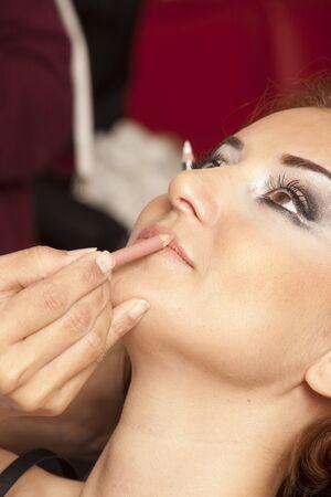 Eyes Makeup.Make-up.Eyes shadows. Eye shadow brush Stock Photo
