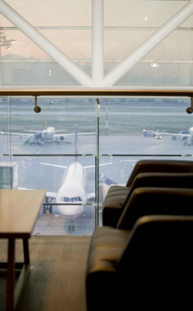 await: waiting room with seats in airport