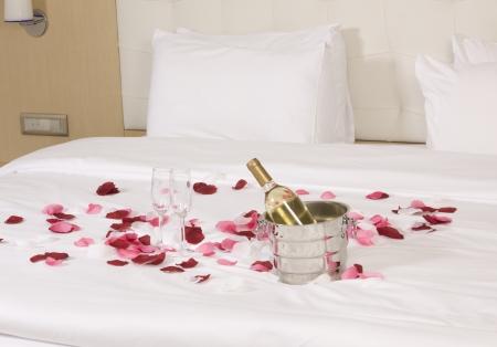 wine in bed to celebrate Valentine photo