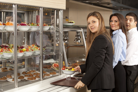cafeteria tray: buffet self-service food display