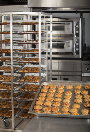 cookie sheet: production of tasty cakes in the bakery