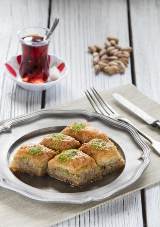 turkish ramadan dessert baklava with concept background