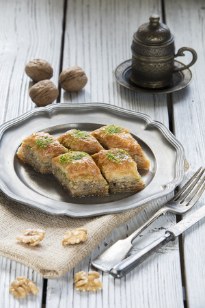 baklava: turkish ramadan dessert baklava with concept background