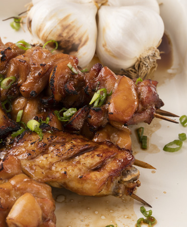 soy ginger chicken skewers with vegetable