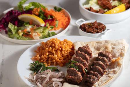 Turkish Adana Kebab with Vegetables on the Plate
