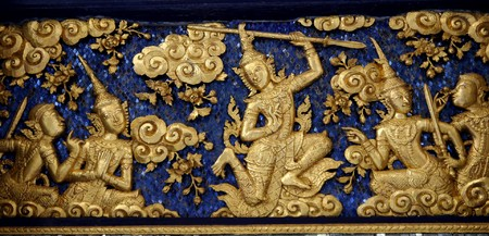 convexity: Thai carved basrelief on the wall