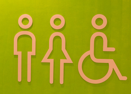 perforation tape: Toilet symbol for man, women and disabled. Stock Photo