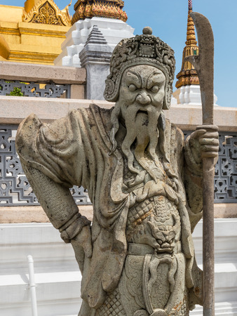 deterrence: Chinese warrior statues in temple ,Bangkok ,Thailand.